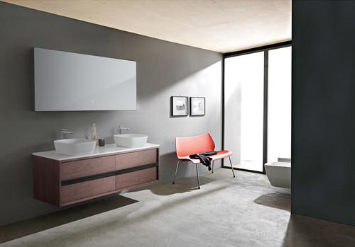 "Synergy Walnut 72"" Wall Mount Vanity W/ Double Sink"
