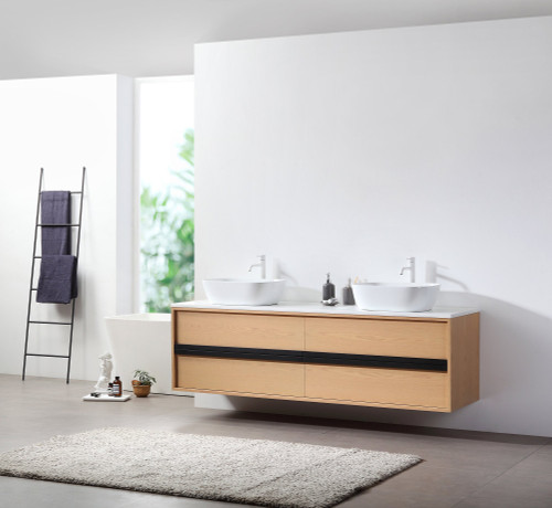 """Synergy Naturale 72"""" Wall Mount Vanity W/ Double Sink"""