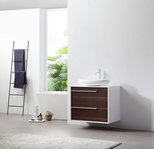 """Ellani Ebony 30"""" Wall Mount Vanity W/ Single Sink"""