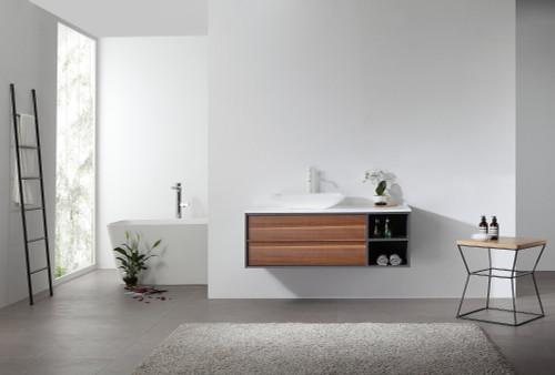 """Ellani Walnut 48"""" Wall Mount Vanity W/ Single Sink"""