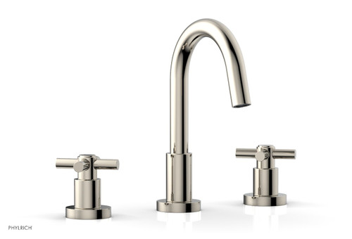 """BASIC Widespread Faucet Polished Nickel, 8 1/2"""" High Spout, Tubular Cross Handles D135-014"""