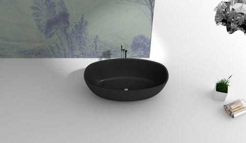 Matte Black Solid Surface Free Standing Bathtub