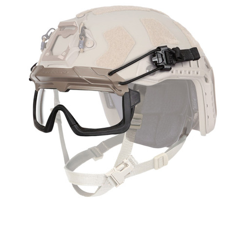 Our one-size-fits-all Ops-Core STEP-IN Visor, a ballistic protective visor, shown mounted on helmet with retention bungees
