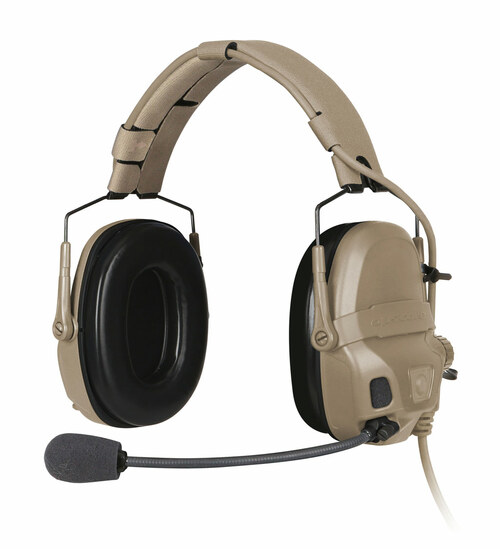The Ops-Core AMP Communication Headset shown in a headband configuration with noise-cancelling microphone