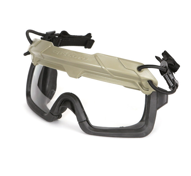 Our one-size-fits-all Ops-Core STEP-IN Visor, a ballistic protective visor, shown with removable rubber gaskets