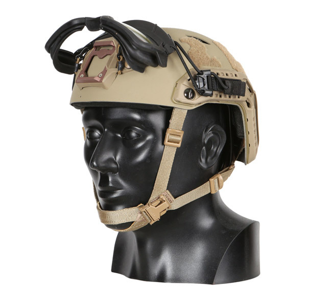 Our one-size-fits-all Ops-Core STEP-IN Visor, a ballistic protective visor, shown stored above the shroud on ballistic helmet
