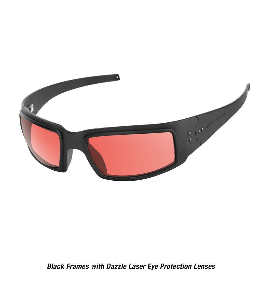 Ops-Core Mk1 Performance Protective Eyewear shown with black frames and laser dazzle eye protection lenses