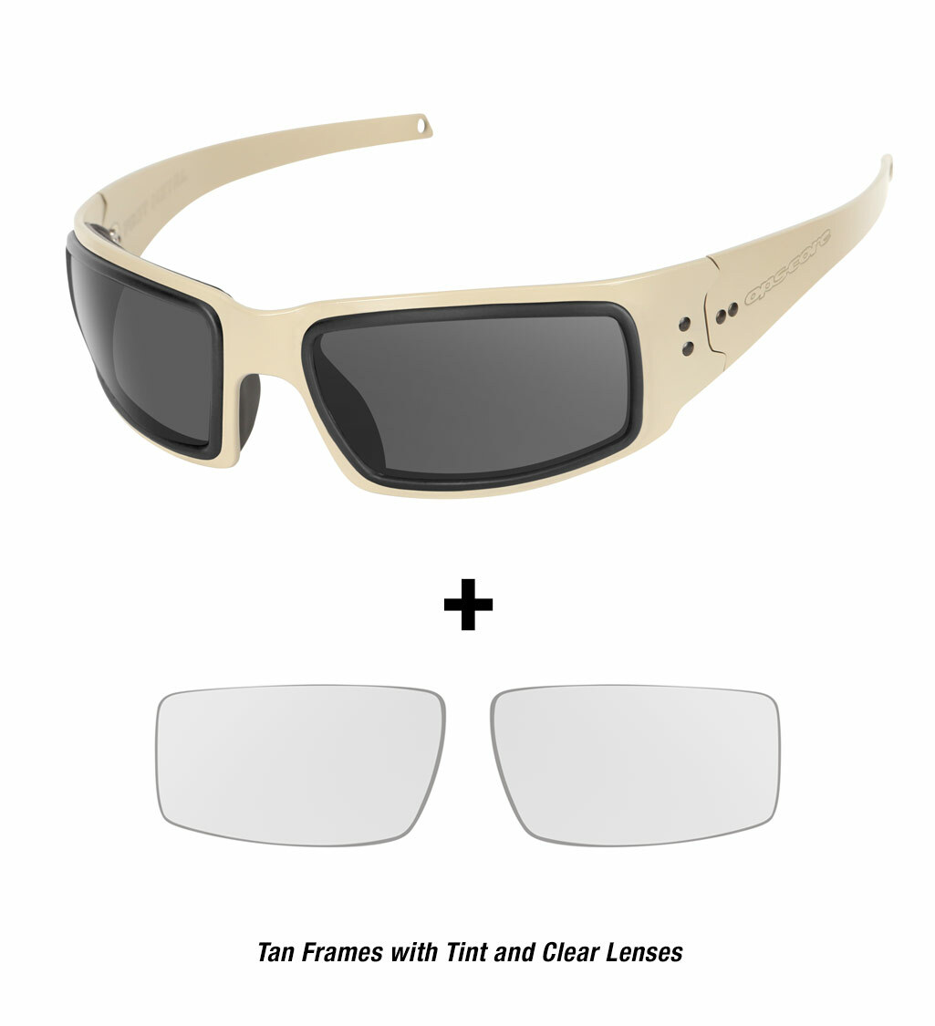 Ops-Core Mk1 Performance Protective Eyewear shown with tan frames and tinted and clear lenses