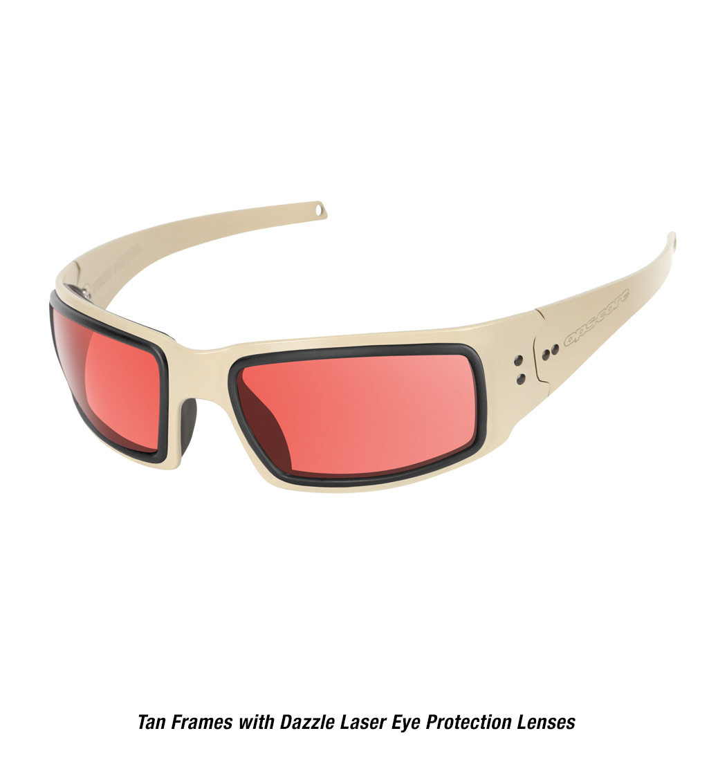 Ops-Core Mk1 Performance Protective Eyewear shown with tan frames and laser dazzle eye protection lenses