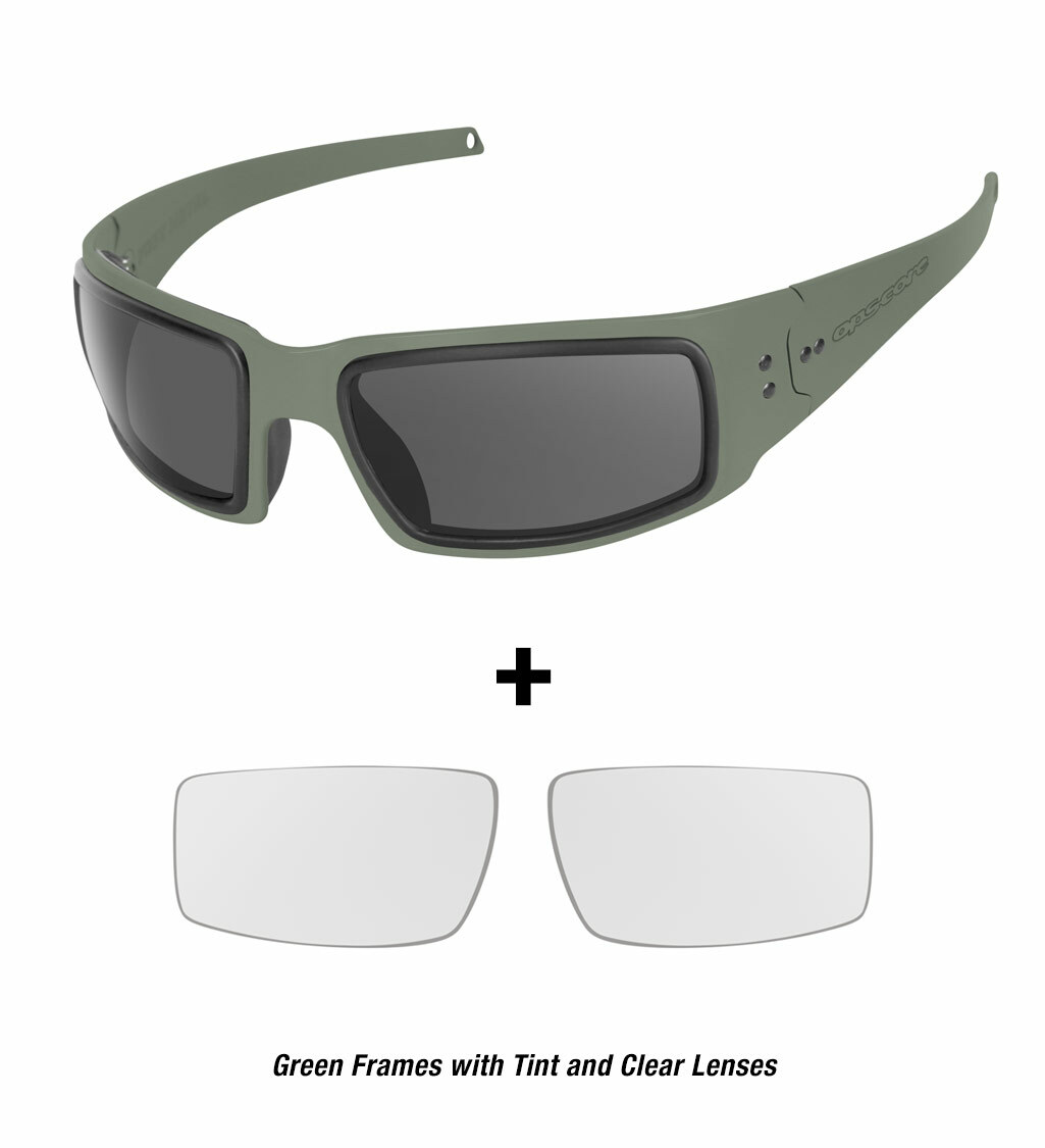Ops-Core Mk1 Performance Protective Eyewear shown with green frames and tinted and clear lenses