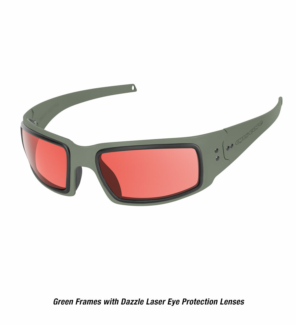 Ops-Core Mk1 Performance Protective Eyewear shown with green frames and laser dazzle eye protection lenses