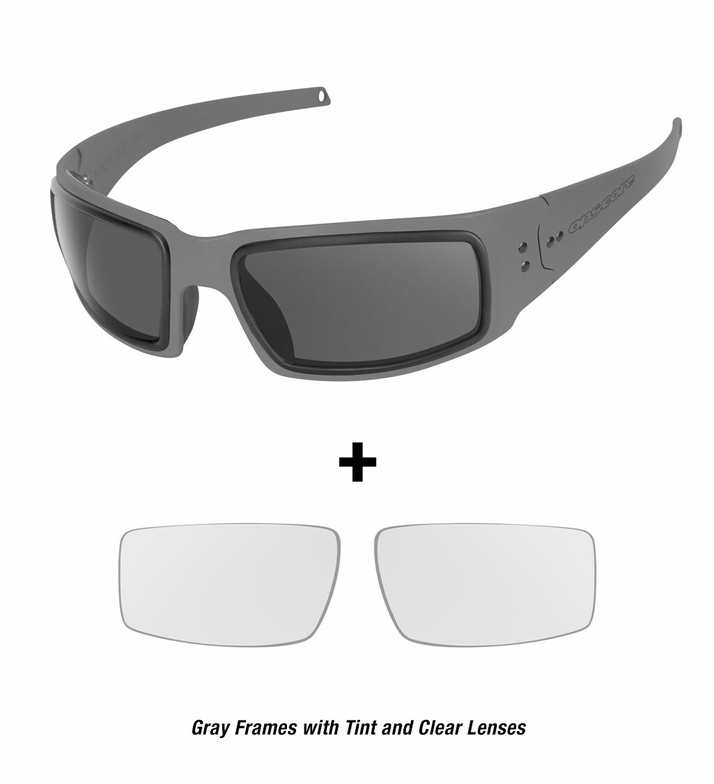 Ops-Core Mk1 Performance Protective Eyewear shown with gray frames and tinted and clear lenses