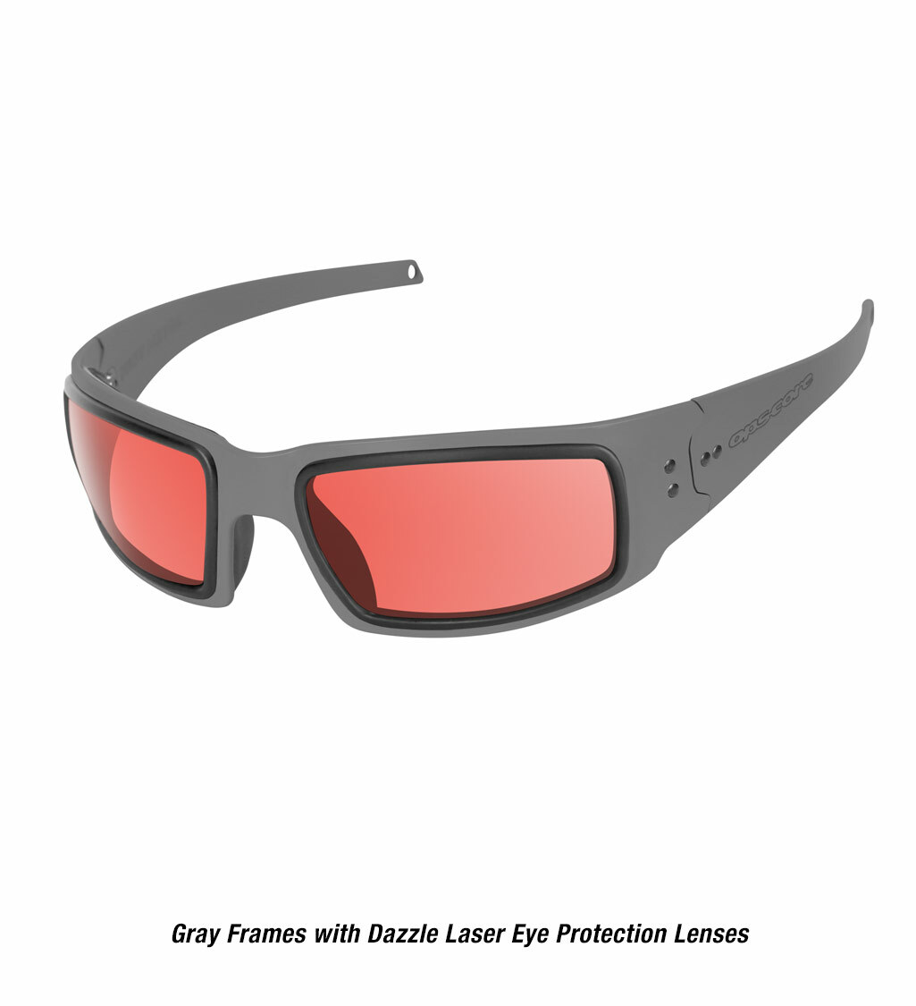 Ops-Core Mk1 Performance Protective Eyewear shown with gray frames and laser dazzle eye protection lenses