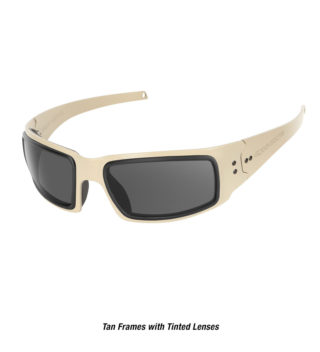 Ops-Core Mk1 Performance Protective Eyewear shown with tan frames and tinted lenses