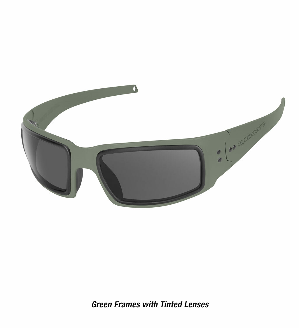 Ops-Core Mk1 Performance Protective Eyewear shown with green frames and tinted lenses