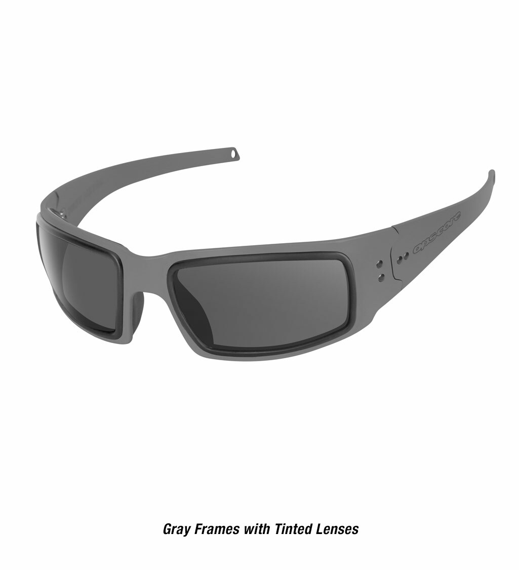 Ops-Core Mk1 Performance Protective Eyewear shown with gray frames and tinted lenses