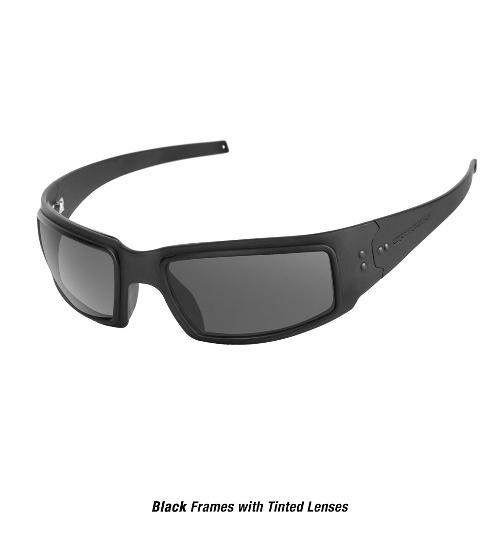 Ops-Core Mk1 Performance Protective Eyewear shown with black frames and tinted lenses