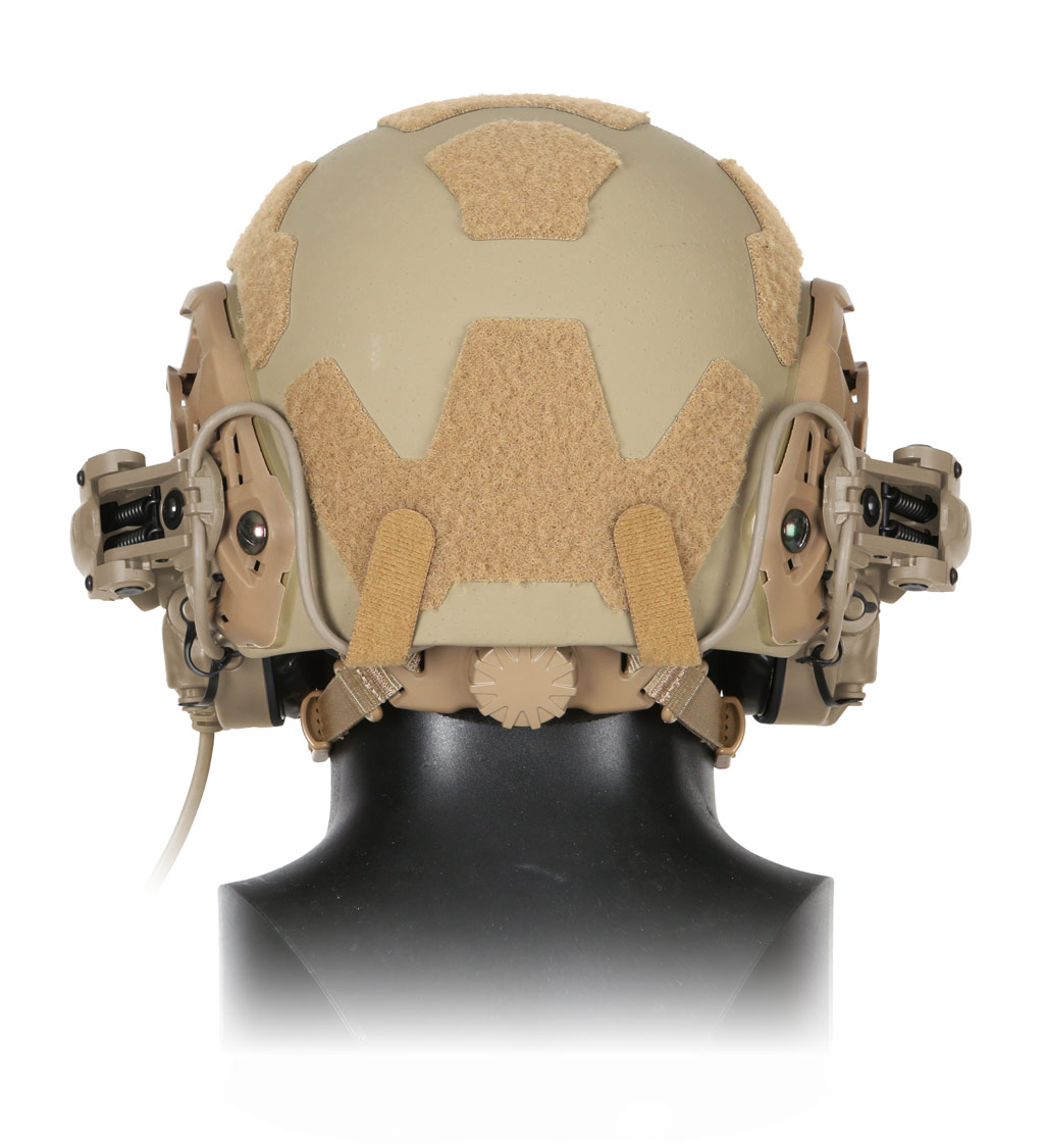 Back view of The Ops-Core AMP Communication Headset mounted on a helmet's rail mount kit