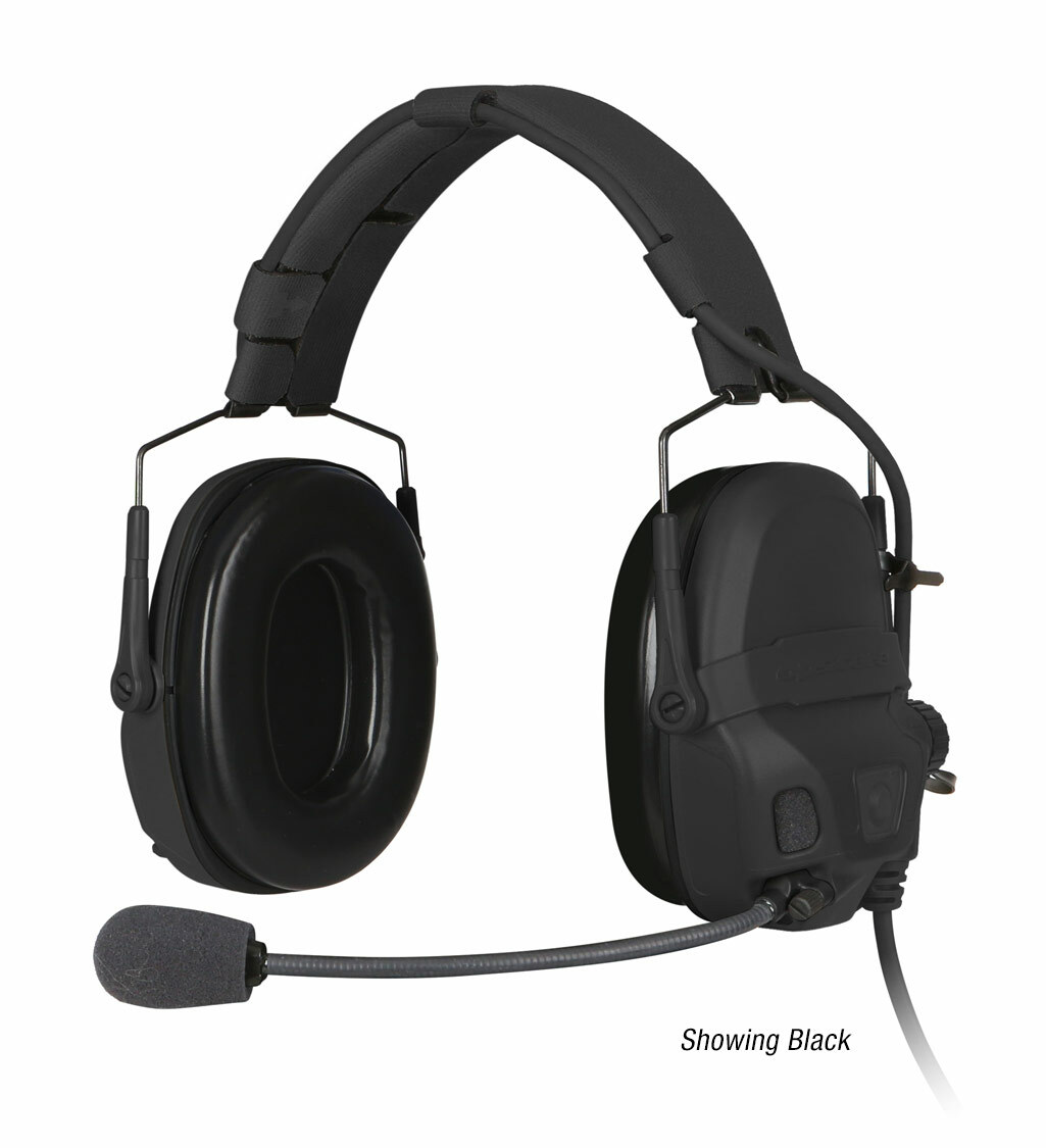 The Ops-Core AMP Communication Headset shown with a noise-cancelling microphone in black