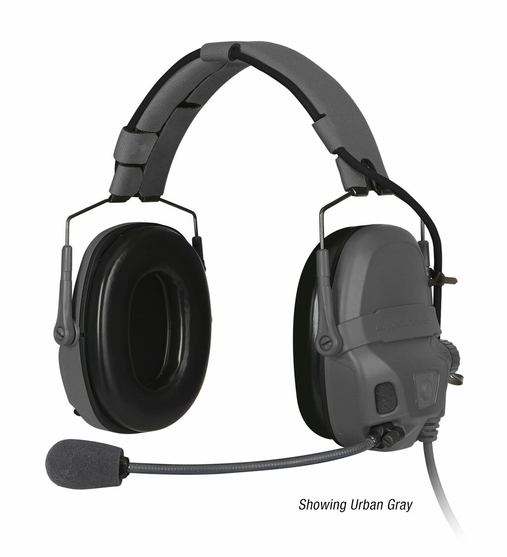 The Ops-Core AMP Communication Headset shown with a noise-cancelling microphone in urban gray