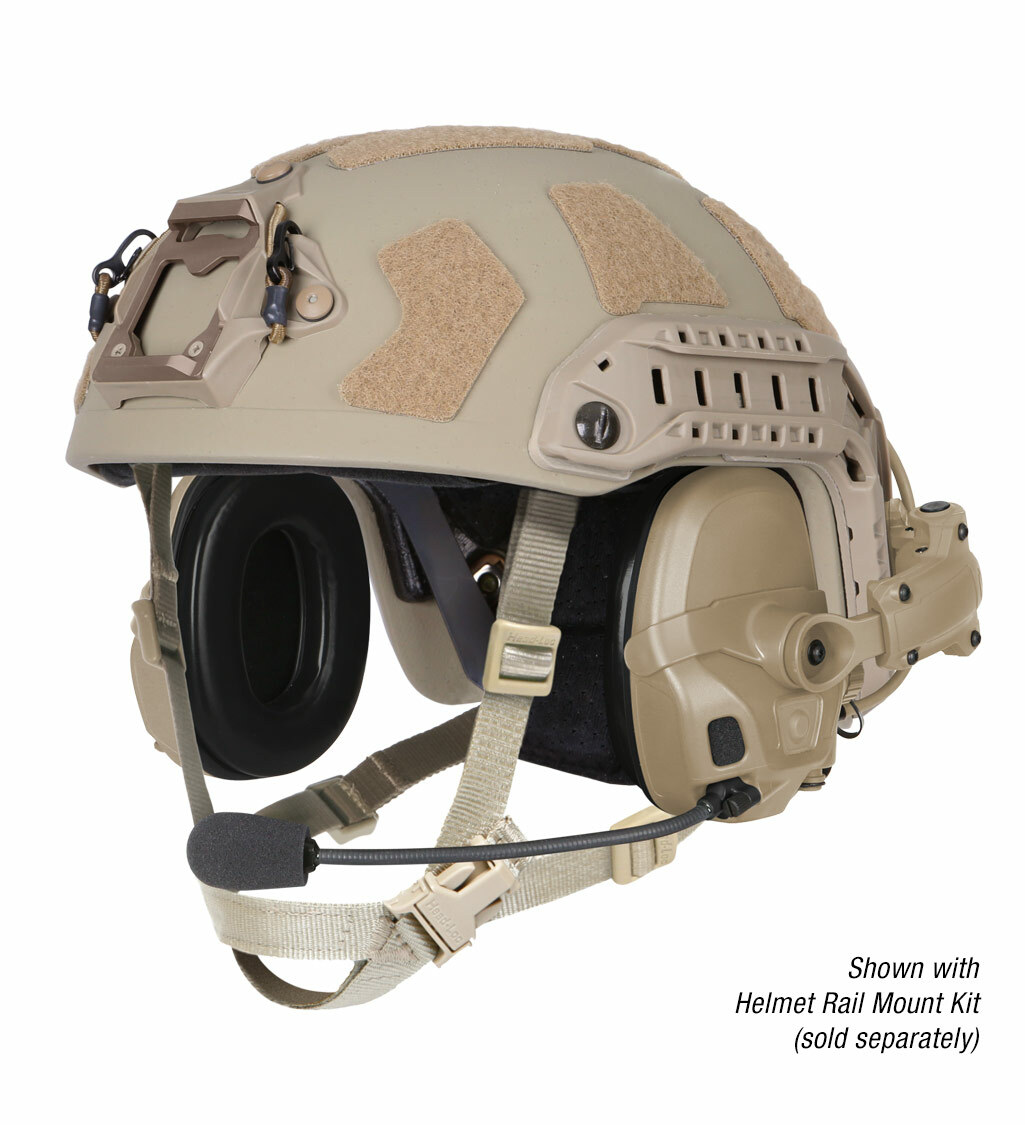 The Ops-Core AMP Communication Headset shown in a helmet configuration with rail mount kit and noise-cancelling microphone