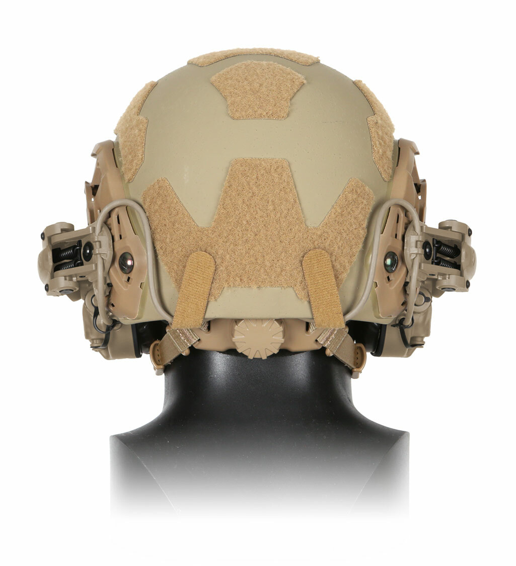 Back view of The Ops-Core AMP Communication Headset, a tactical communication headset, mounted on a helmet's rail mount kit