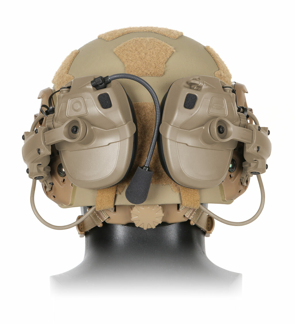 The Ops-Core AMP Communication Headset, a tactical communication headset, shown in a low profile storage placement