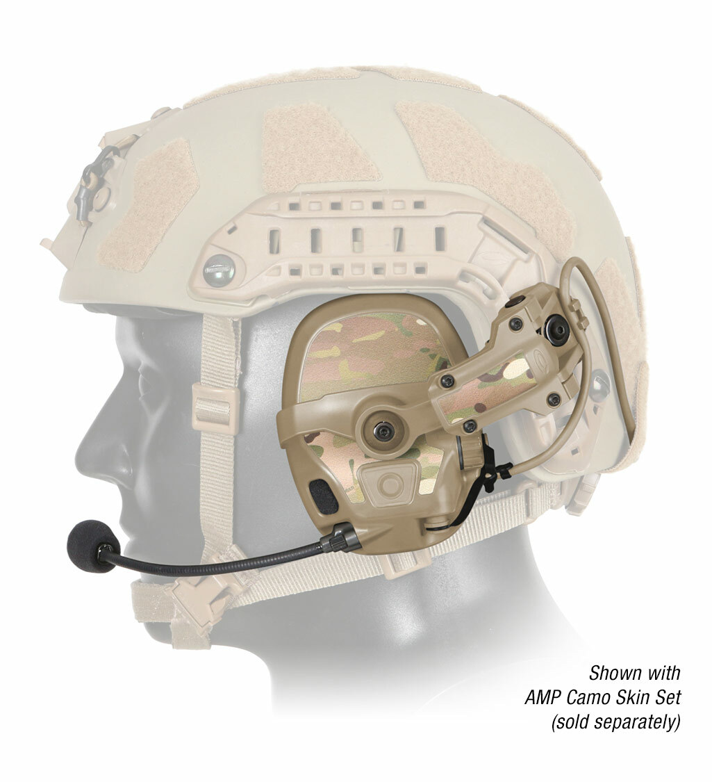 The Ops-Core AMP Communication Headset shown with noise-cancelling microphone on helmet with camo skin set