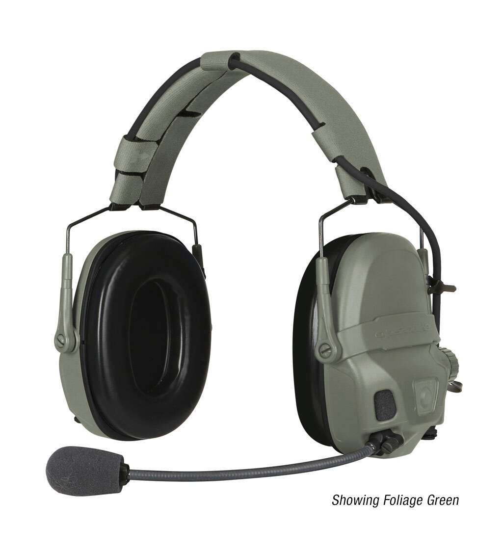 The Ops-Core AMP Communication Headset shown with a noise-cancelling microphone in foliage green
