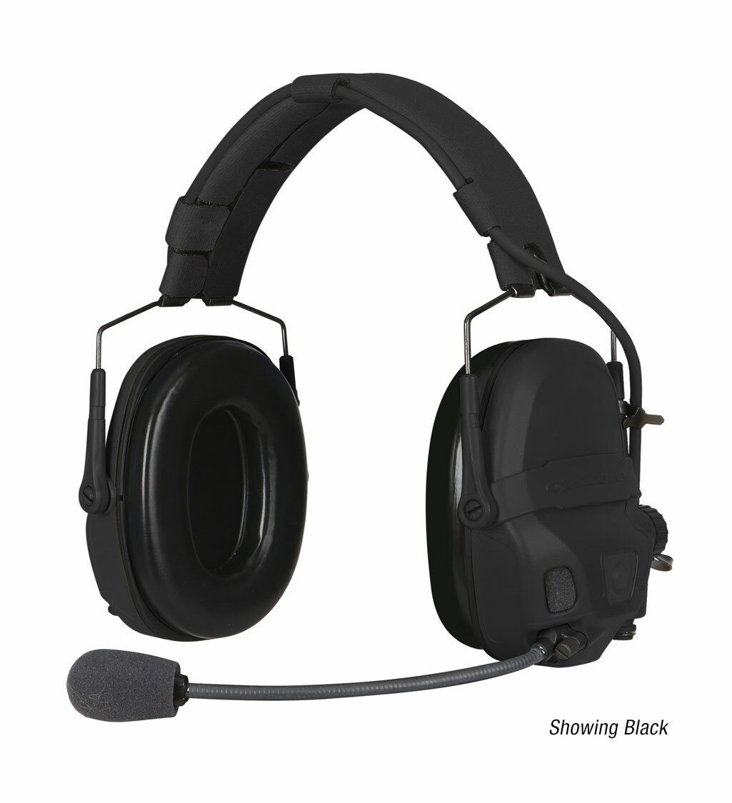 The Ops-Core AMP Communication Headset, a tactical communication headset, shown with noise-cancelling microphone in black