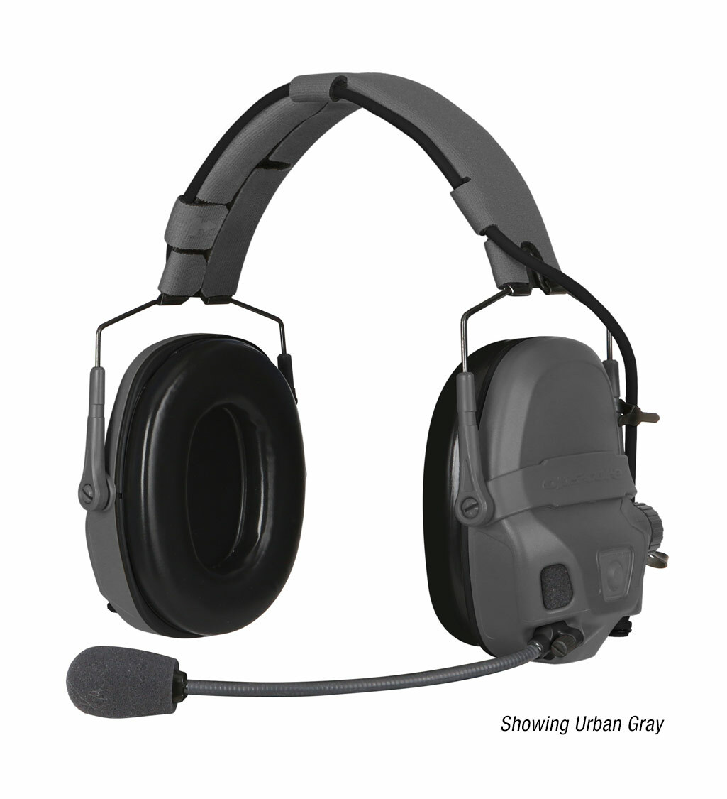The Ops-Core AMP Communication Headset, a tactical communication headset, shown with noise-cancelling microphone in urban gray