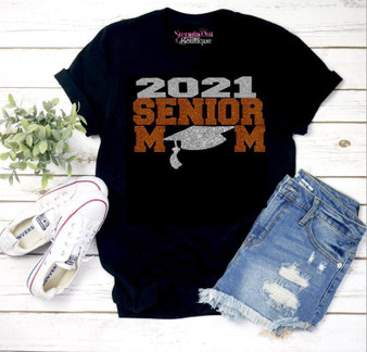 Senior 2021 Mom Orange Copper and Silver