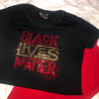 Black Lives Matter Red and Topaz Rhinestone