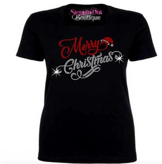 Merry Christmas Rhinestone Bling Shirt
