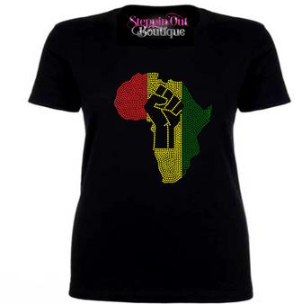 Black Power Rhinestone Bling Shirt