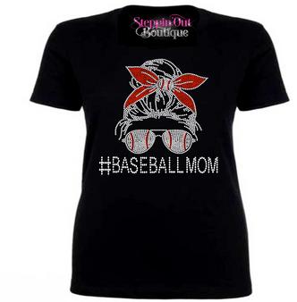 Messy Bun Skull Baseball Mom Rhinestone Bling Shirt