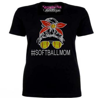 Messy Bun Skull Softball Mom