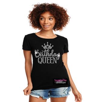 Birthday Queen Crown Rhinestone Bling Shirt