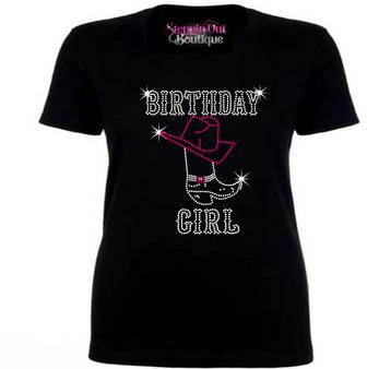 Birthday Cowgirl Rhinestone Bling Shirt