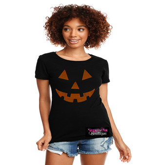 Pumpkin Face Rhinestone Bling Shirt