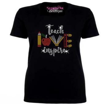Teach Love Inspire Rhinestone Bling Shirt