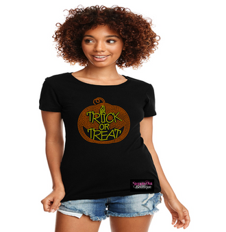 Halloween Pumpkin Trick or Treat Rhinestone Bling Shirt
