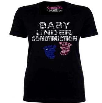 Baby Under Construction Rhinestone Bling Shirt