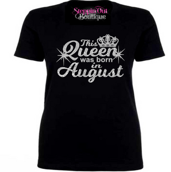 This Queen Was Born In Custom Month Silver Glitter