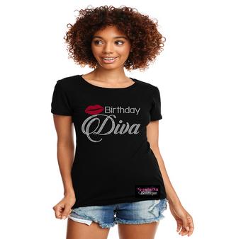 Birthday Diva Lips Rhinestone Bling Shirt
