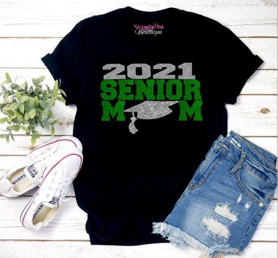 Senior 2021 Mom Green and Silver