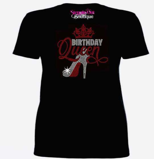 Birthday Queen 2  Rhinestone Bling Shirt