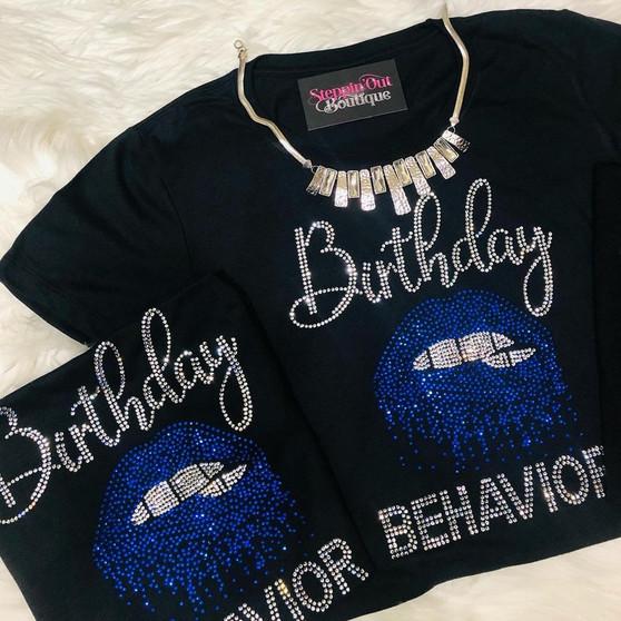 Birthday Behavior Biting Lips Rhinestone Bling Shirt