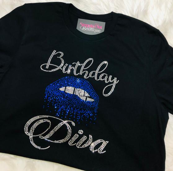 Birthday Diva Biting Lips Rhinestone Bling Shirt