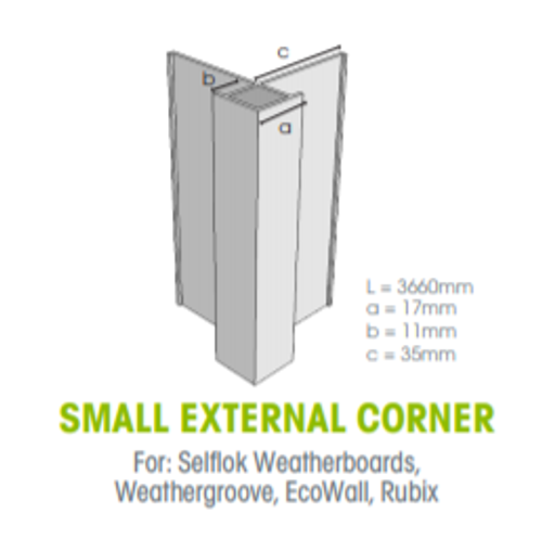 Buy Weathertex Small External Aluminium Corner 3660mm from Megatimber Online